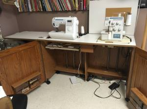 Rolling Sewing Cart with Sewing Machine and Serger
